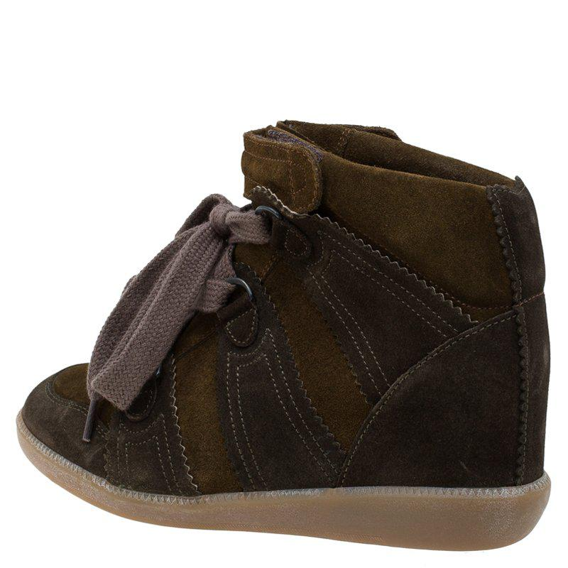 Isabel Marant Two Tone Suede Bobby Lace Up Wedge Sneakers in Brown