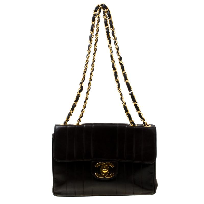 ced90c4363e1b3 Chanel. Women's Brown Black Vertical Quilted Leather Jumbo Vintage Classic  Single Flap Bag