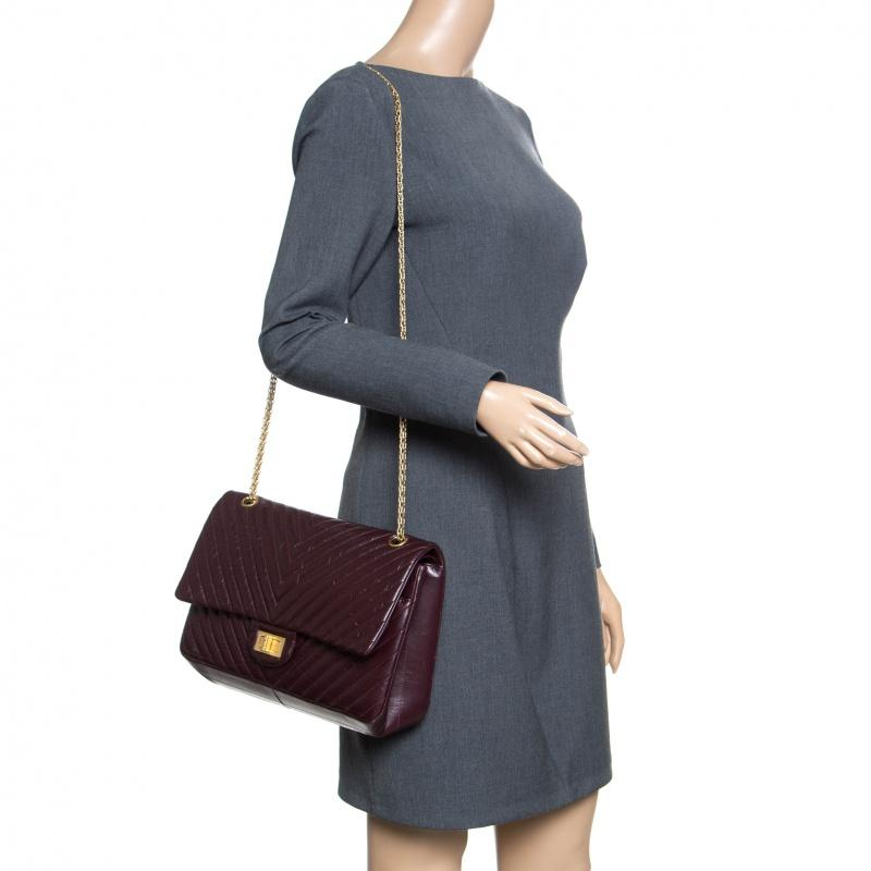 bc410b5e2828 Chanel - Purple Burgundy Chevron Quilted Leather Reissue 2.55 Classic 227  Flap Bag - Lyst. View fullscreen