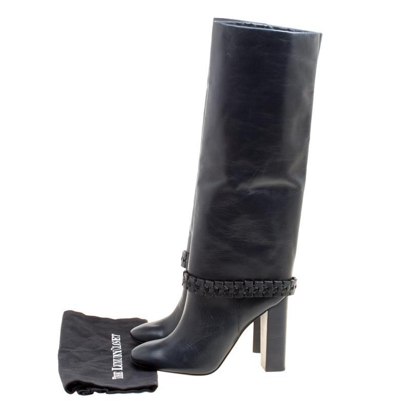 c8d49409e Tory Burch - Dark Blue Leather Sarava Braid Detail Knee Boots Size 40 -  Lyst. View fullscreen