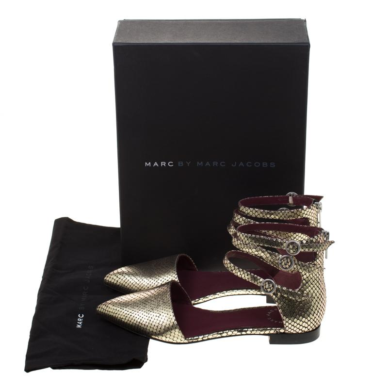 02925d15061b Marc By Marc Jacobs - Metallic Gold Embossed Snakeskin Leather Minetta  Ankle Strap Flat Sandals Size. View fullscreen