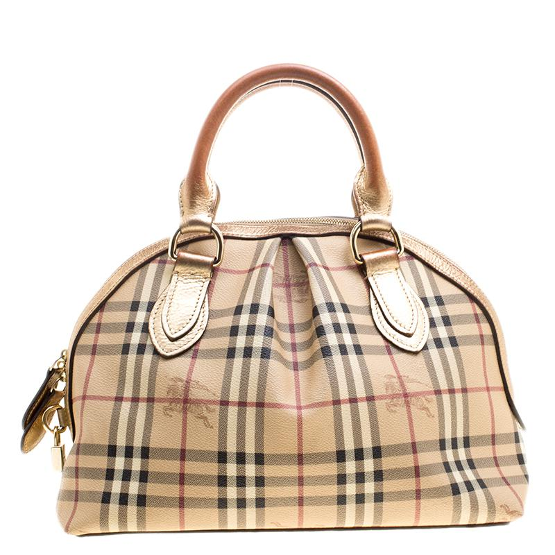 b41cc1fdbcb Burberry Haymarket Check Pvc And Leather Thornley Bowling Bag in ...