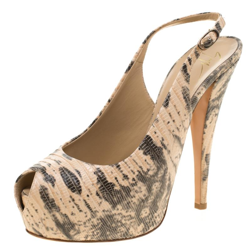 47dc91b5848 Giuseppe Zanotti. Women s Natural Embossed Lizard Leather Monro Peep Toe  Platform Slingback Sandals