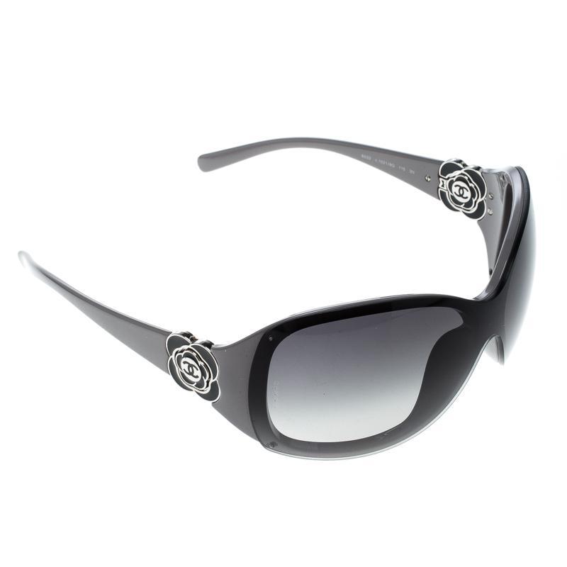b3029dfdf86 Chanel Grey  Gradient 6032 Camellia Flower Shield Sunglasses in ...