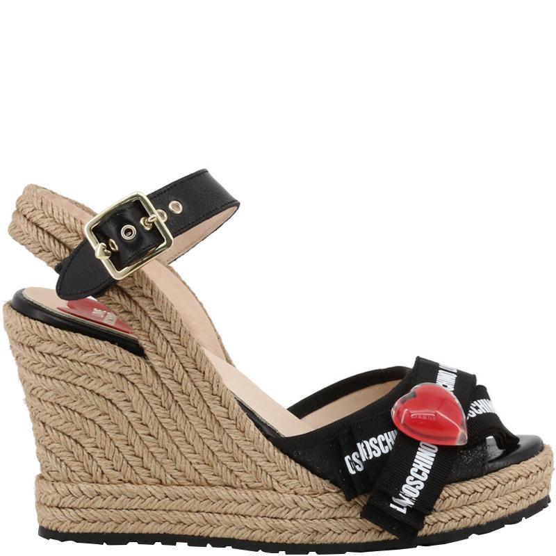 9bd9ec3edf Moschino Love Black Fabric Ankle Strap Espadrille Wedge Sandals Size ...