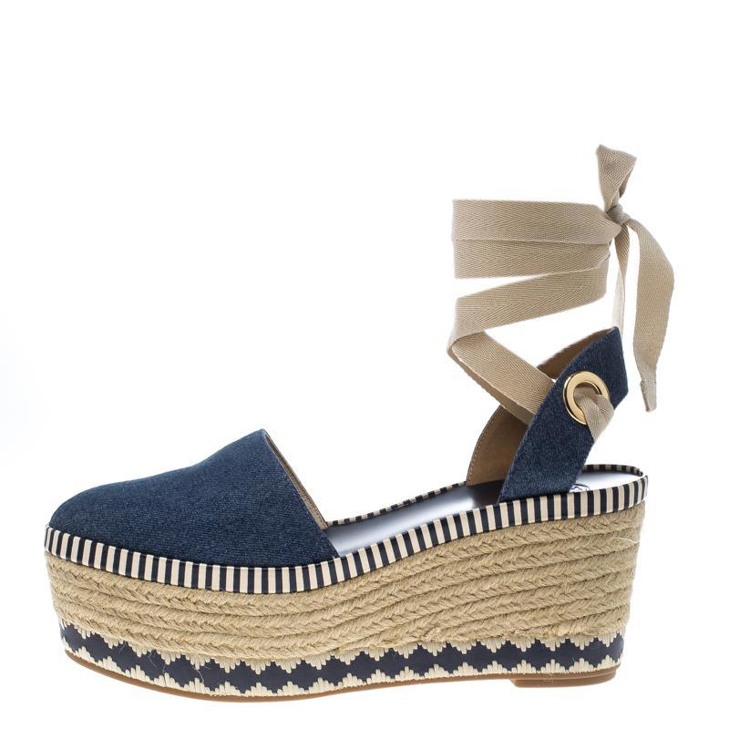 dad90ae8a814b7 Tory Burch - Blue Denim Dandy Ankle Wrap Espadrille Wedge Sandals - Lyst.  View fullscreen
