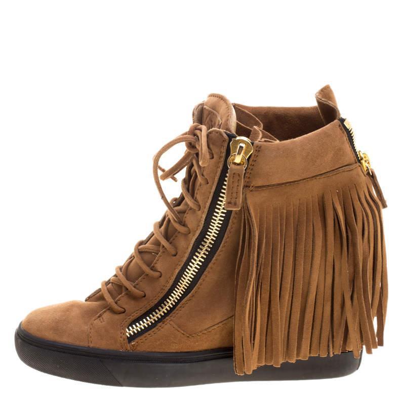 Giuseppe Zanotti Brown Suede Lorenze Fringe Wedge Sneakers Size 40