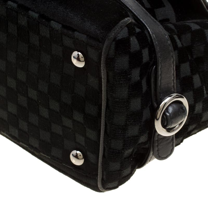 ebea95252c3a2d Chanel - Black Check Embossed Velvet Vintage Cc Side Belted Bowler Bag -  Lyst. View fullscreen