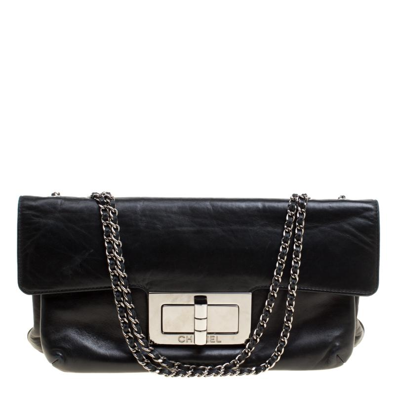 76b7aa51f81002 Chanel Black Leather Giant Reissue Flap Shoulder Bag in Black - Lyst