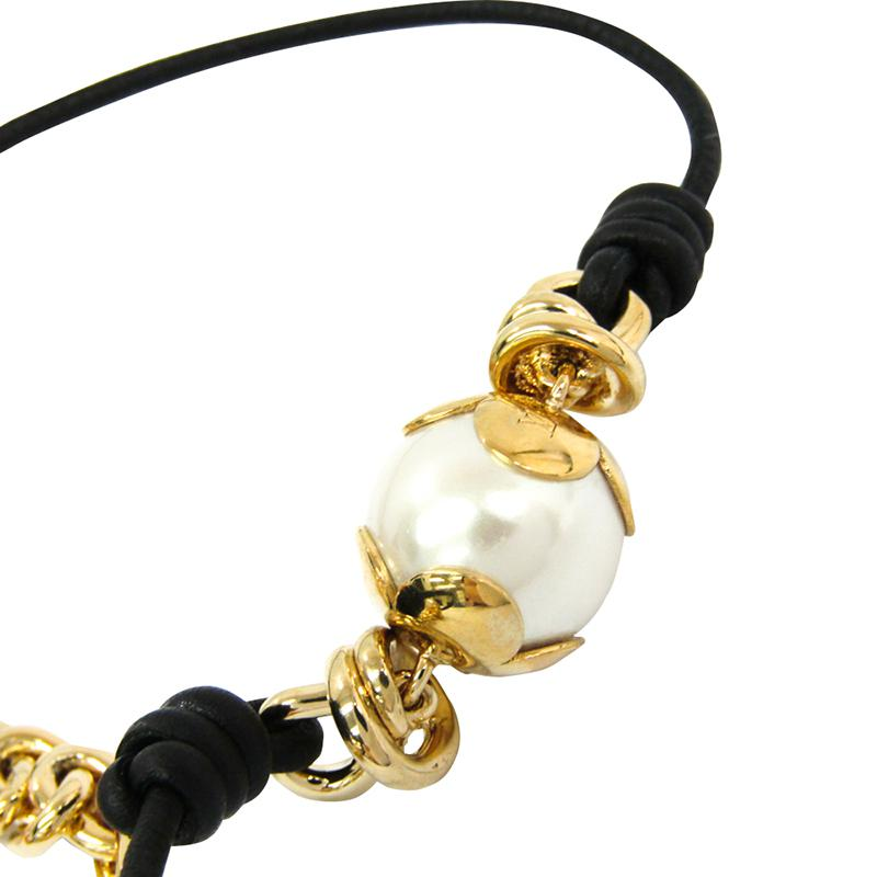 d7984f0a85170 Louis Vuitton Metallic Knotty Pearls Leather And Gold Tone Choker Necklace
