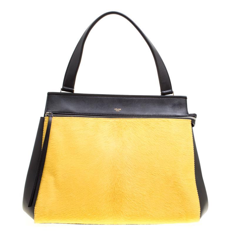 beb7348711b7 Céline - Yellow Black  Leather And Calf Hair Medium Edge Bag - Lyst. View  fullscreen