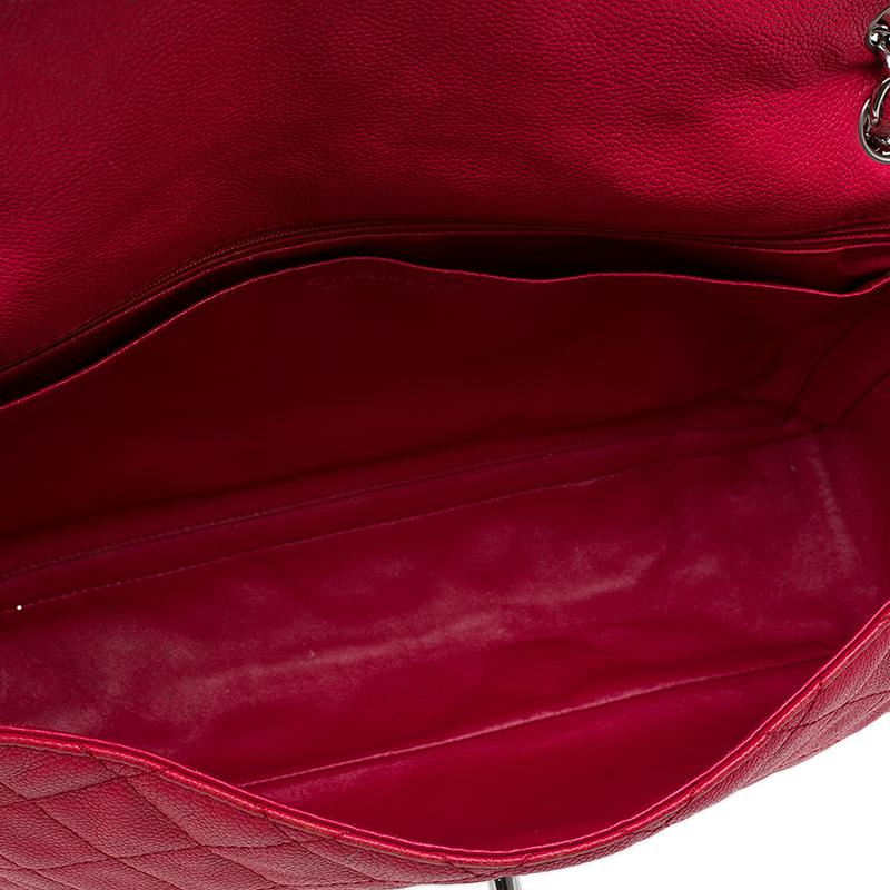 b224ee41f922 Chanel Washed Caviar Leather Maxi Jumbo Xl Classic Flap Bag in Red ...
