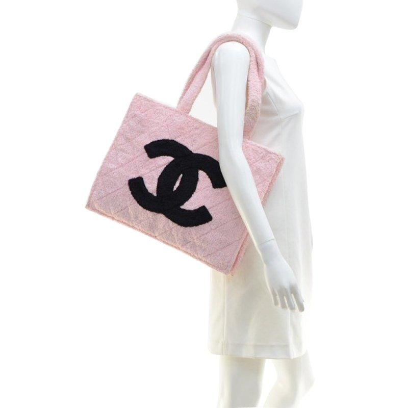 b7c3a57a289851 Chanel - Vintage Pink And Black Terry Cloth Cc Xl Tote - Lyst. View  fullscreen
