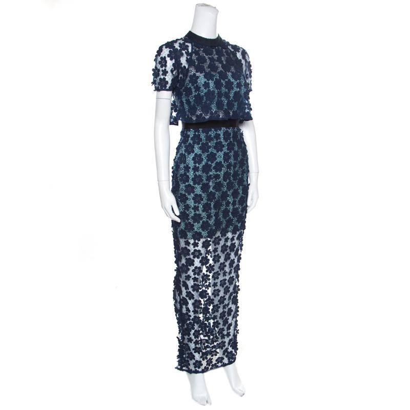 f4818411e49e1 Self-Portrait Floral Applique Lace 60's Overlay Maxi Dress S in Blue ...