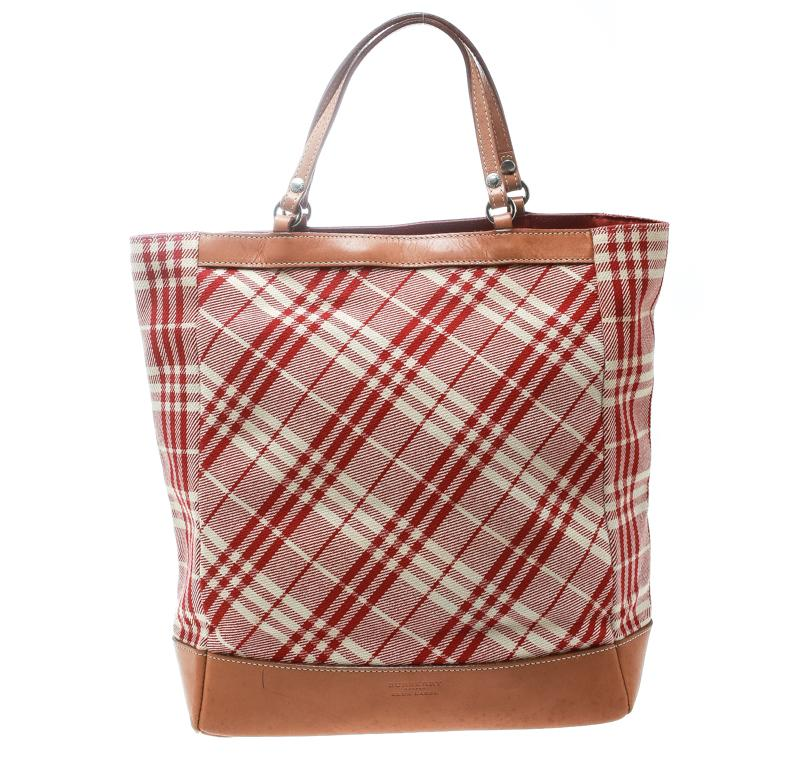 1811b3d67124 Lyst - Burberry Blue Label Red brown Check Fabric Tote in Red