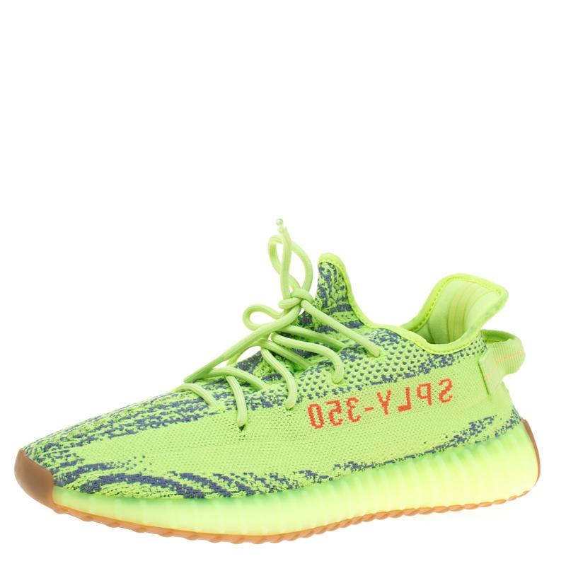65058b2e886 Yeezy. Men s Gray X Adidas Semi Frozen Yellow Cotton Knit Boost 350 V2  Zebra Sneakers ...