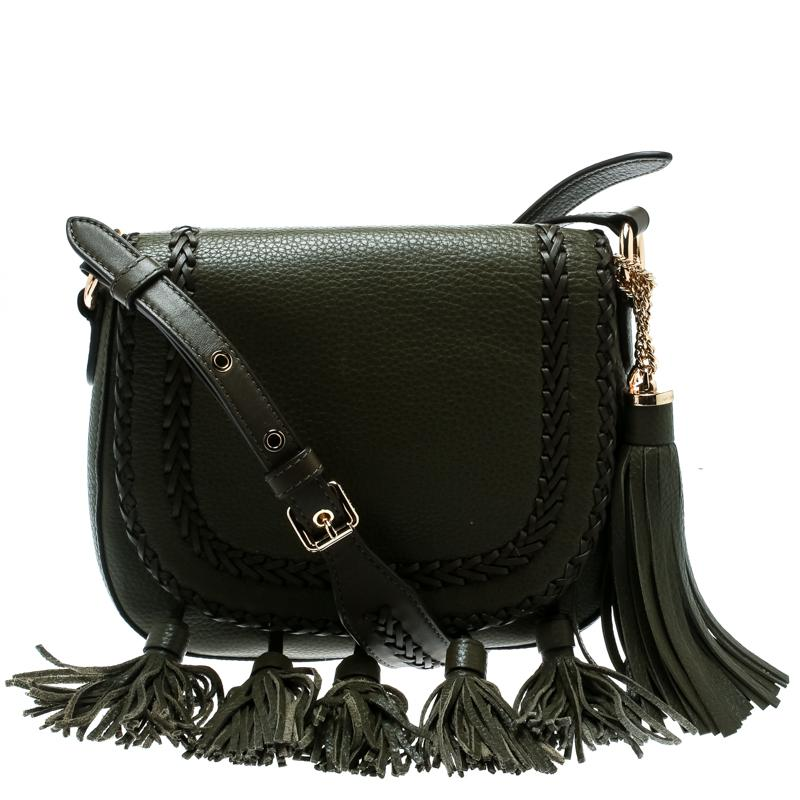 93eafcb0e4bda Michael Kors Olive Leather Moroccan Saddle Messenger Bag in Green - Lyst