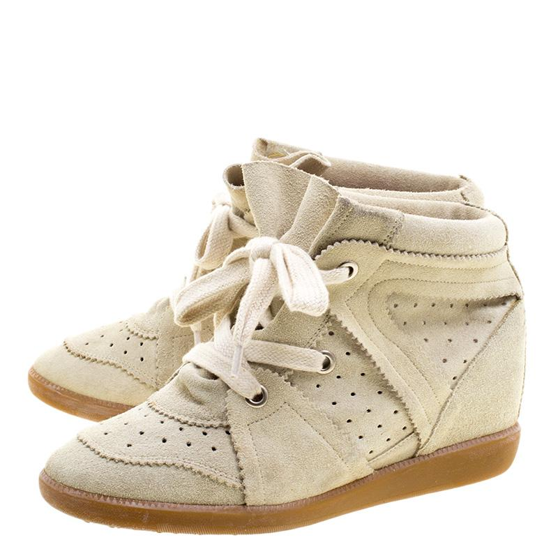 Isabel Marant Suede Bobby Wedge Sneakers in Beige (Natural)