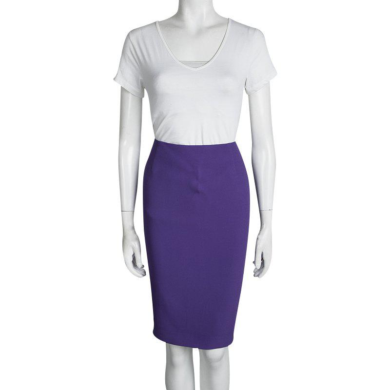 Tom Ford Synthetic Zip Detail Pencil Skirt M in Purple