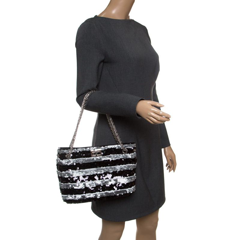 5316eb91fb52 Chanel /grey Striped Sequins Small Reissue Tote in Black - Lyst