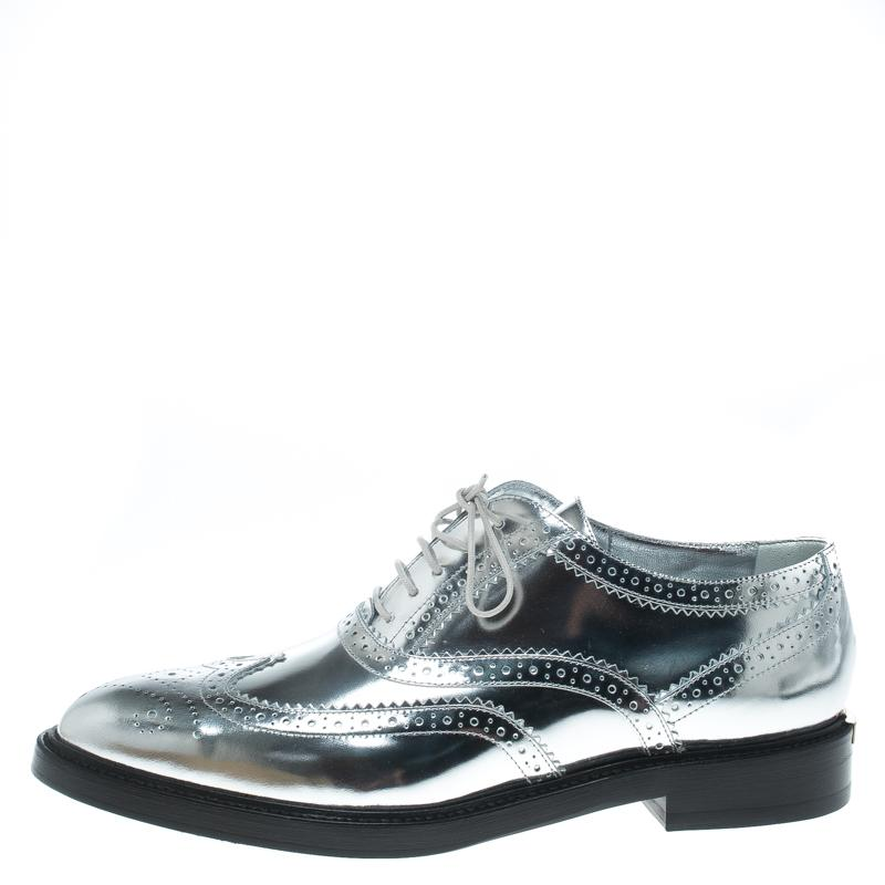 eedff09d424 Burberry - Metallic Silver Brogue Leather Gennie Lace Up Oxfords Size 40 -  Lyst. View fullscreen
