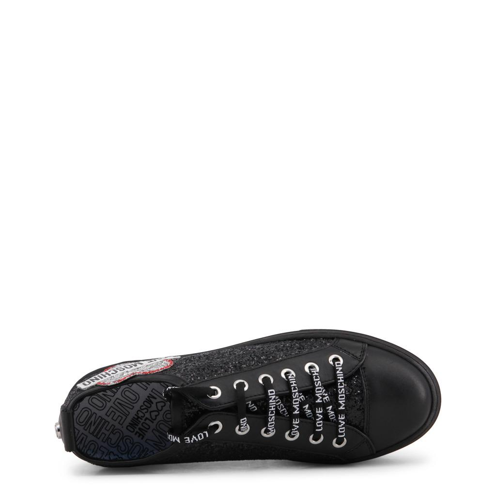 dc617789227d Lyst - Moschino Love Glitter And Faux Leather Platform Sneakers in Black