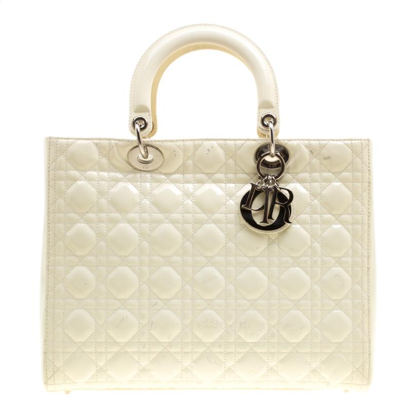 3234f755ce99 Dior Patent Leather Large Lady Tote in Natural - Lyst