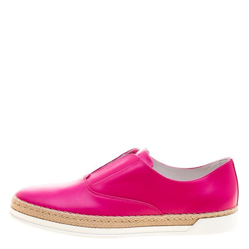 Tod's Fuschia Leather Francesina Espadrille Slip On Sneakers in Pink
