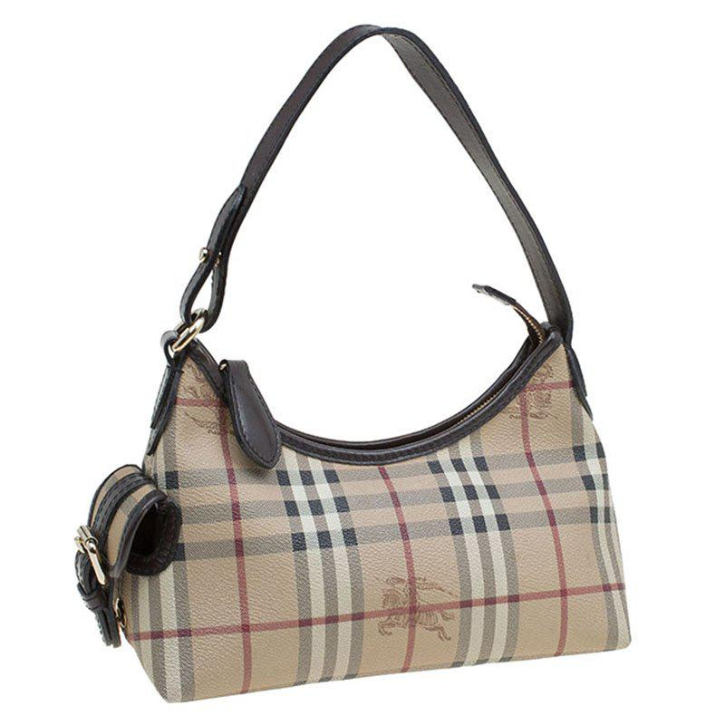 c8c09c4c4865 Lyst - Burberry Classic Check Coated Canvas Side Pocket Shoulder Bag ...