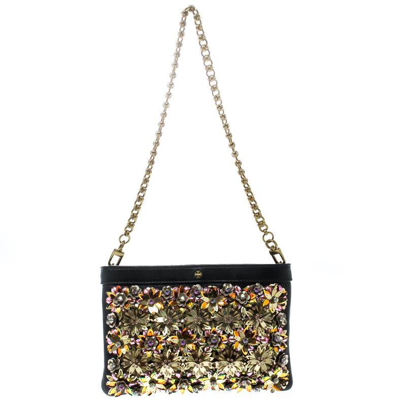 fe6ac3028871 Lyst - Tory Burch Leather Embellished Shoulder Bag in Black