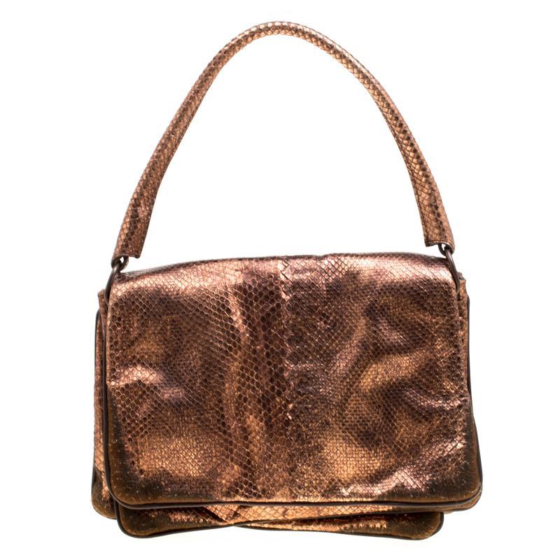 Bottega Veneta Copper Python Shoulder Bag in Brown - Lyst a2eefec9995c2