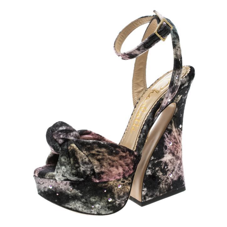 0634b355dd5c Charlotte Olympia Crystal Embellished Galaxy Print Velvet Vreeland ...
