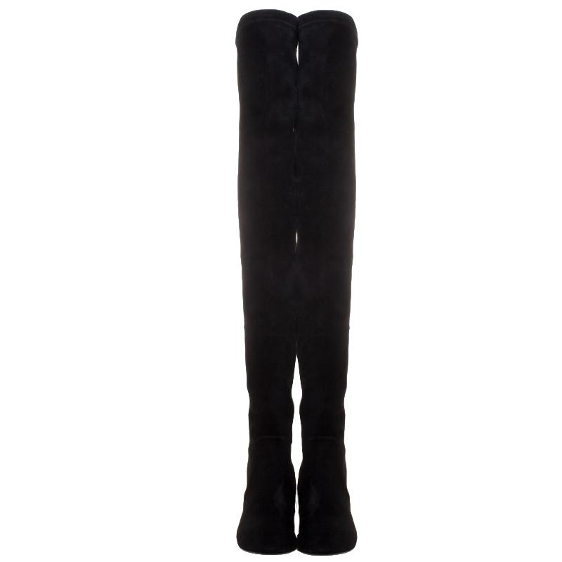 Isabel Marant Stretch Suede Brenna Over Knee Thigh High Boots in Black