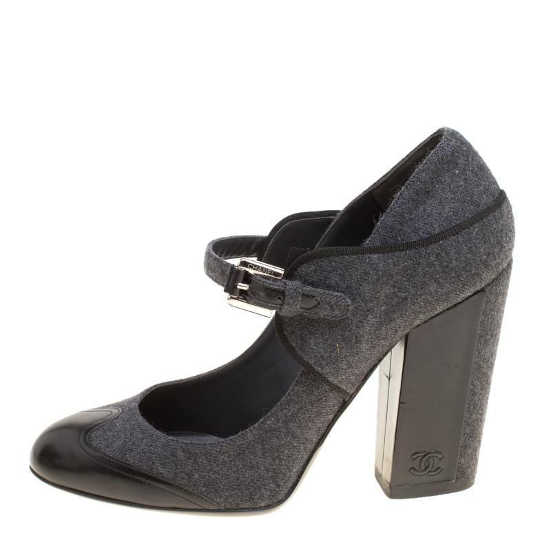 43ebddb7eef4 Chanel  black Wool Blend And Leather Cap Toe Mary Jane Block Heel ...