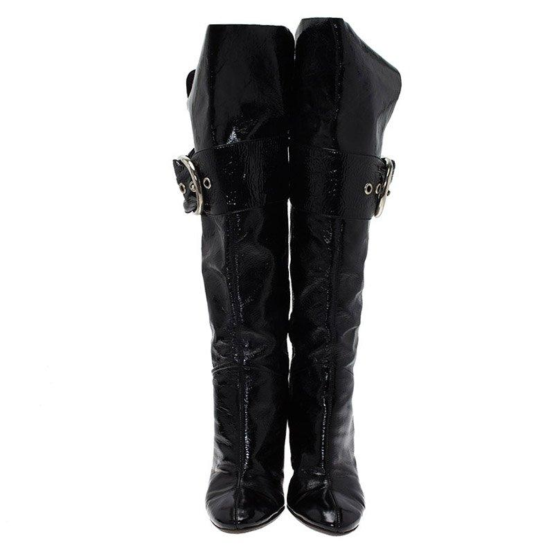 Giuseppe Zanotti Leather Black Patent Knee Boots Size 36