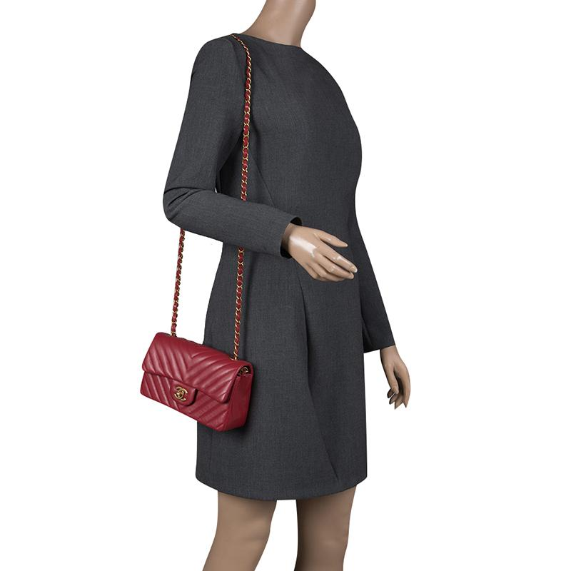 1e4f0b4086c8 Chanel Dark Chevron Leather New Mini Classic Flap Bag in Red - Lyst
