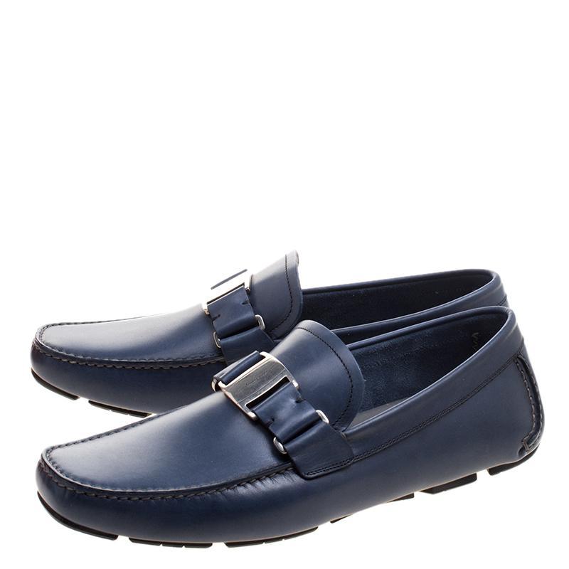 Ferragamo Leather Sardegna Loafers in Blue for Men