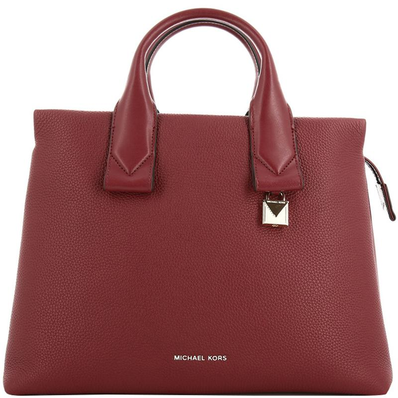 4955a3d52 MICHAEL Michael Kors. Women's Red Maroon Pebbled Leather Large Rollins  Satchel Bag