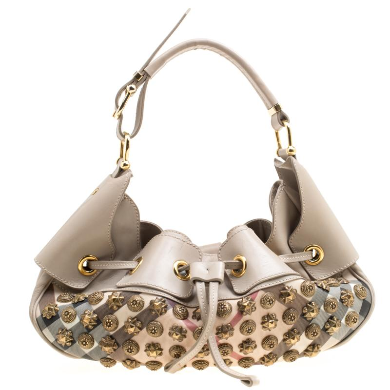 Burberry. Women s Natural Super Nova Check Pvc And Leather Mini Warrior  Studded Hobo db9a58c1c05b9