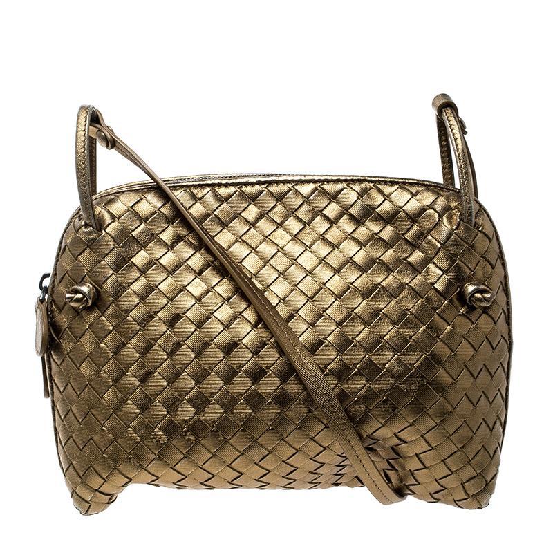 8a750db7913e Bottega Veneta. Women s Metallic Intrecciato Nappa Leather Crossbody Bag