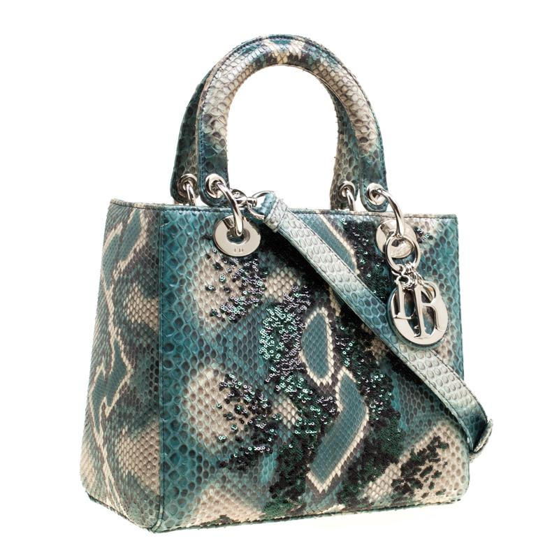 a84b2b08696d Lyst - Dior Python And Sequin Medium Lady Top Handle Bag in Green