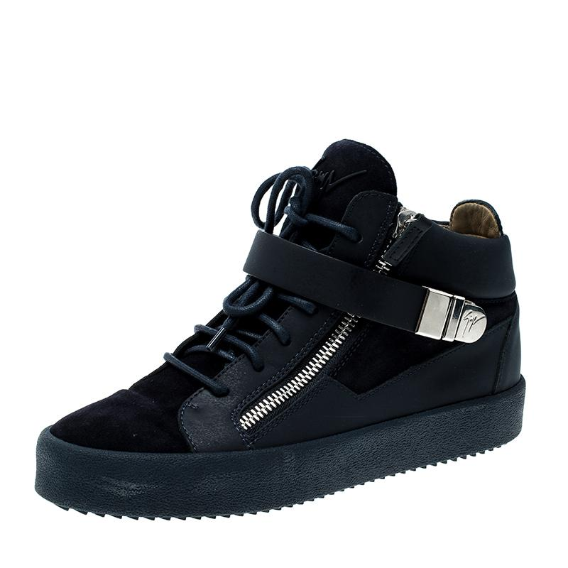 ed198cd772dbf Giuseppe Zanotti Leather And Suede Mid Top Sneakers in Blue for Men ...