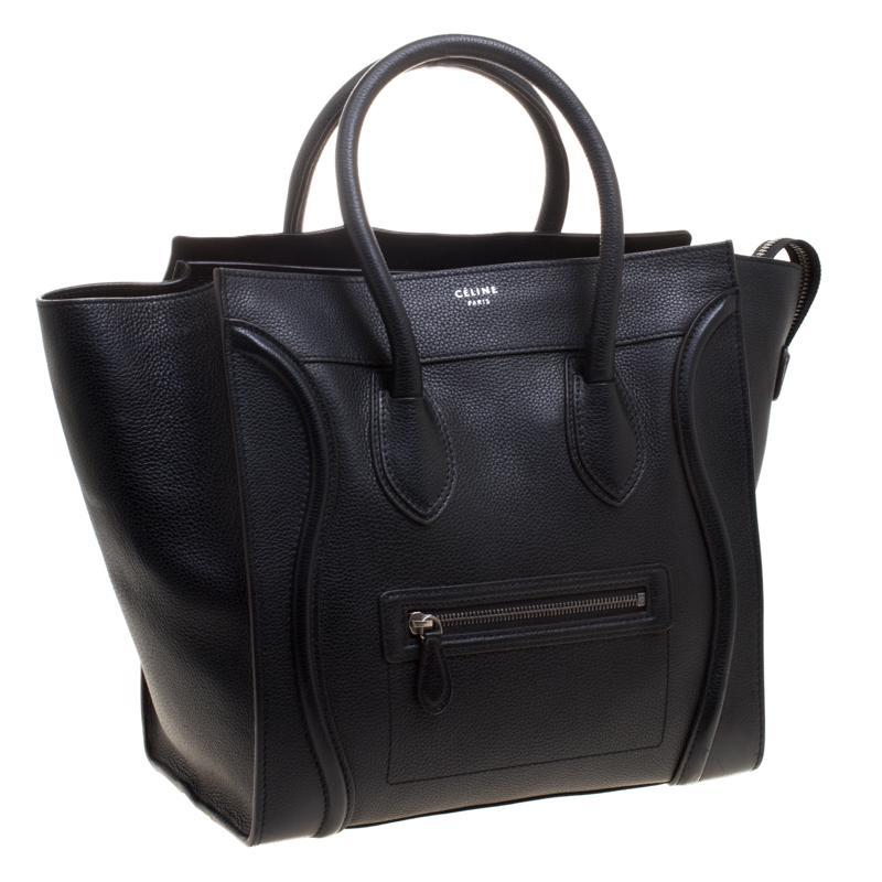 8bd0cd7ab855 Céline Leather Mini Luggage Tote in Black - Lyst
