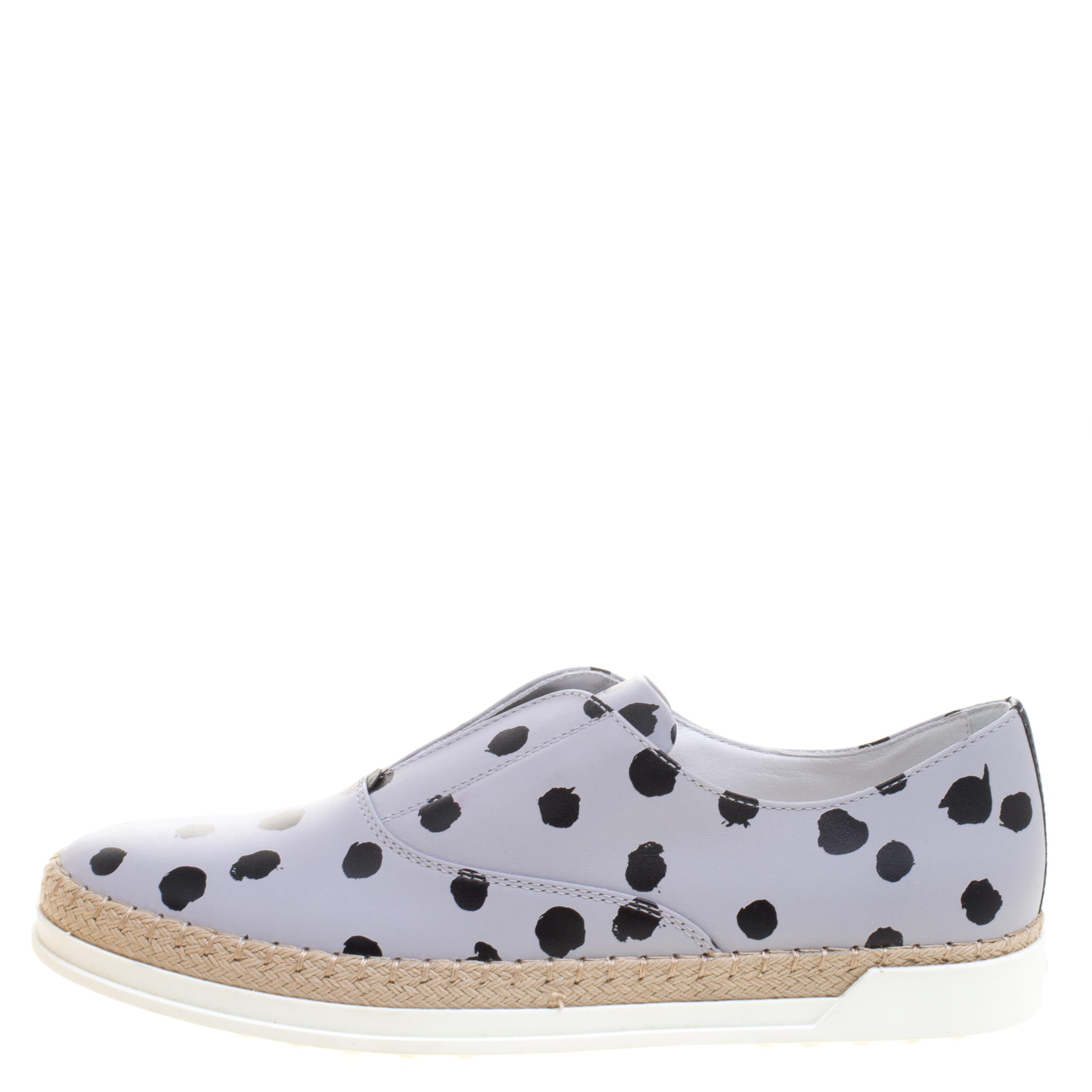 Tod's Dots Printed Leather Espadrille Slip-on Sneakers in Grey (Grey)