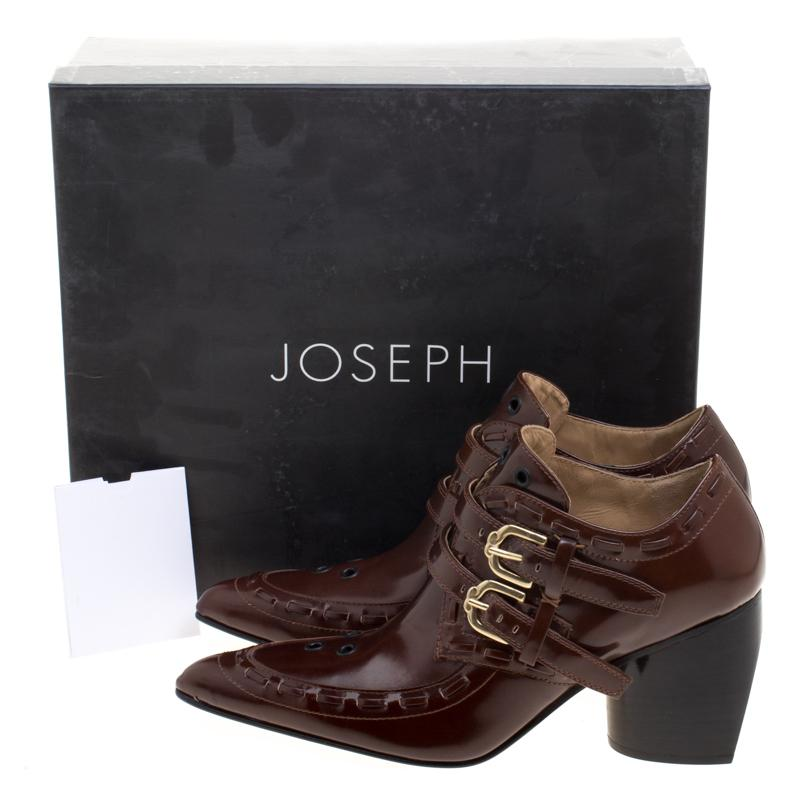 JOSEPH Glossed Leather Eyelet Embellished Pointed Toe Ankle Boots in Brown