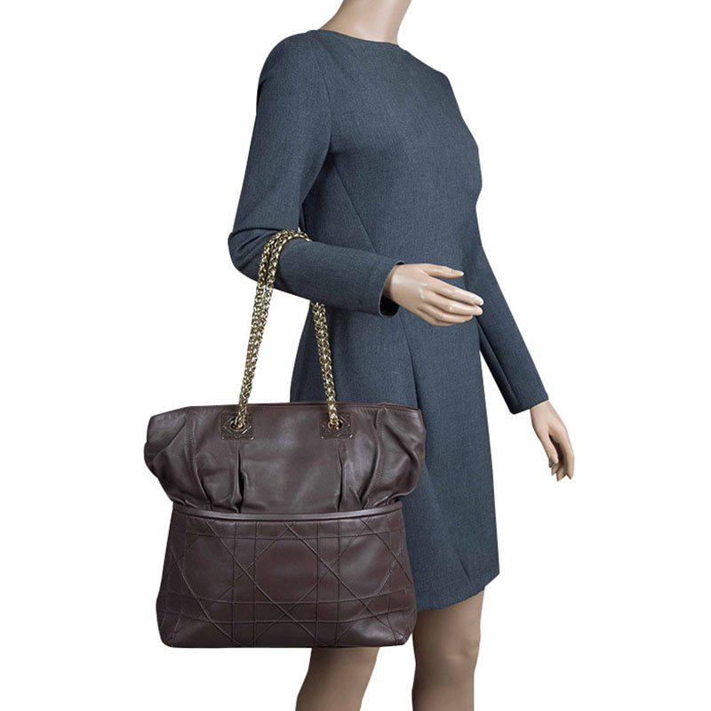 fd5f879aa3 Lyst - Dior Cannage Leather Granville Chain Link Tote in Brown