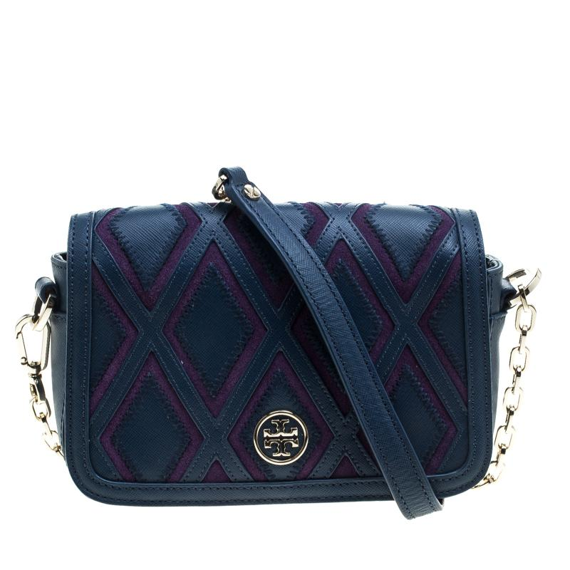 758e49d522c Tory Burch. Women s Blue  purple Leather And Suede Patchwork Robinson Chain  Shoulder Bag