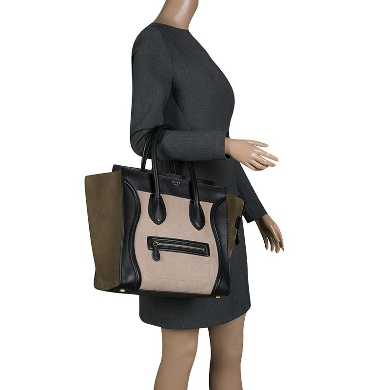 Céline - Black Tri Color Leather And Suede Mini Luggage Tote - Lyst. View  fullscreen 0ac58f58ab673