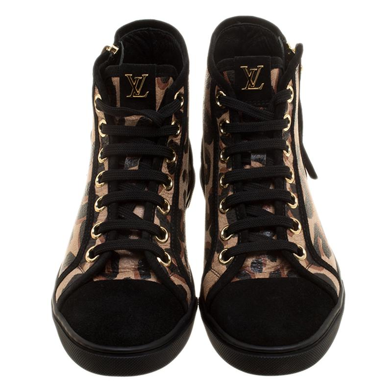 724af1d8e07 Louis Vuitton Black Suede And Leopard Print Leather Stephen Sprouse Punchy  High Top Sneakers