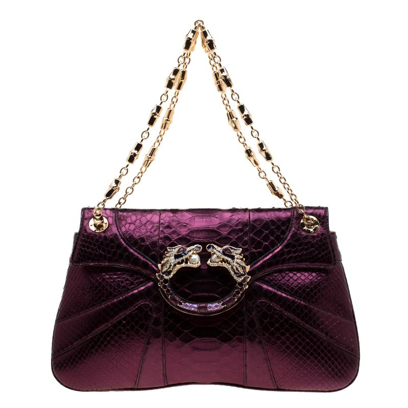 457a007a572 Gucci. Women s Purple Python Limited Edition Tom Ford Dragon Shoulder Bag